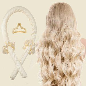 New Heatless Hair Curling Set Cream Colour